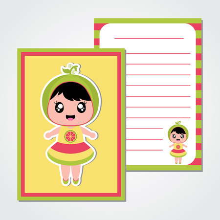 Summer Paper Note With Cute Watermelon Girl Vector Cartoon For Scrap Book And