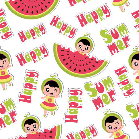 piece: Summer seamless pattern with cute girl and watermelon vector cartoon for summer wallpaper and scrap paper