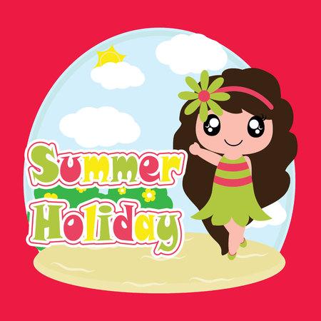 Cute girl on summer holiday vector cartoon, summer postcard, wallpaper, and greeting card, T-shirt design for kids illustration.