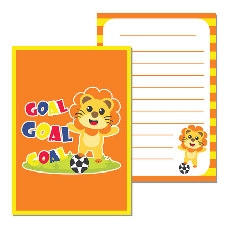 scrap book: Cute paper note with cute lion plays football vector cartoon illustration for kid paper, scrap book and postcard design Illustration