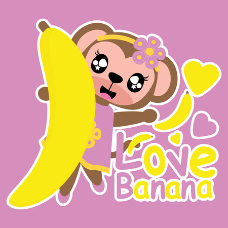 Cute monkey girl loves banana vector cartoon illustration for kid t shirt design, nursery wall, and wallpaper