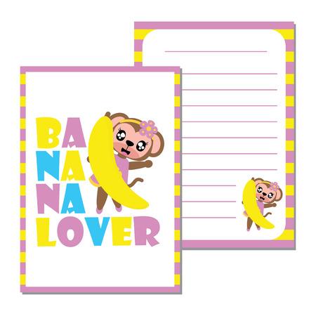 banana sheet: Cute monkey girl loves banana vector cartoon illustration for kid paper note design, scrap book and postcard.