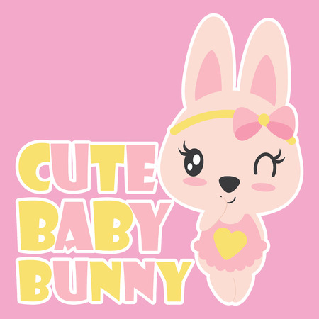 Cute baby bunny smiles on pink background vector cartoon illustration for kid t shirt design, postcard, and wallpaper