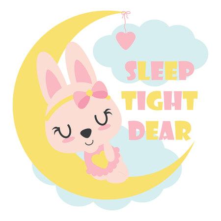 Il coniglietto sveglio del bambino dorme sull'illustrazione del fumetto di vettore della luna per progettazione, la cartolina e la carta da parati della maglietta del bambino Archivio Fotografico - 83456684