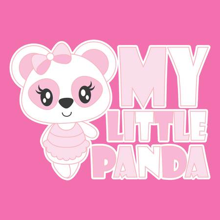 Cute baby panda is my little panda vector cartoon illustration for baby shower card design, kid t shirt design, and wallpaper