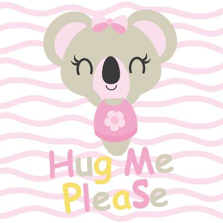 Cute baby koala needs hug vector cartoon illustration for baby shower card design, kid t shirt design, and wallpaper