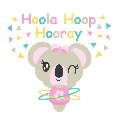 Cute baby koala plays hoola hoop vector cartoon illustration for baby shower card design, kid t shirt design, and wallpaper