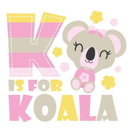 Cute baby koala with K colorful alphabet vector cartoon illustration for baby shower card design, kid t shirt design, and wallpaper Illustration