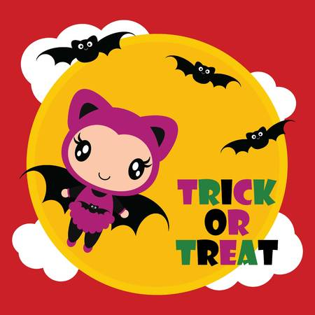 Cute bat girl flies with bats on moon background vector cartoon illustration for halloween card design, wallpaper and kid t-shirt design