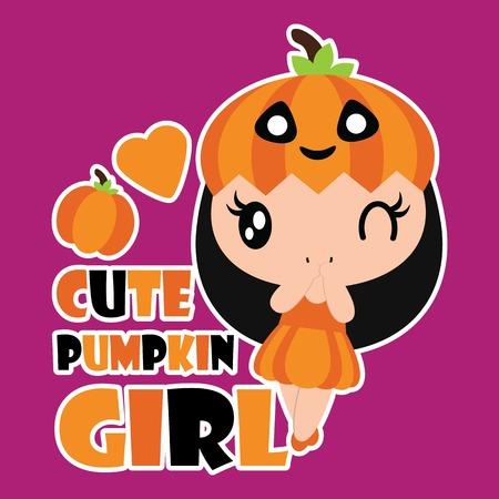 cute ghost: Cute pumpkin girl with pumpkin and love shape vector cartoon illustration for halloween card design, wallpaper and kid t-shirt design