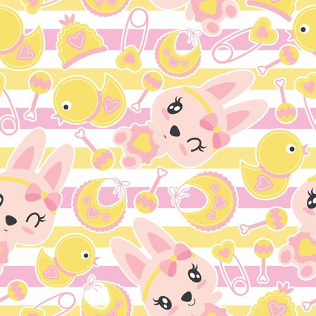 Seamless pattern of cute bunny girls and baby shower items on striped background vector cartoon illustration for baby shower wrapping paper, fabric clothes, and wallpaper