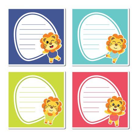 Cute lion boys on colorful fram for kid memo paper design. Illustration