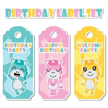 kids birthday party: Cute unicorn girls on birthday cake background vector cartoon illustration for birthday label set design, banner set and postcard design