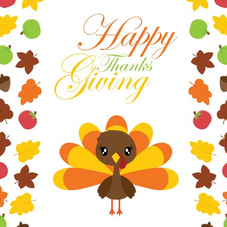 Cute turkey girl in the middle of maples leaves border vector cartoon illustration for thanksgivings day card design, wallpaper and greeting card