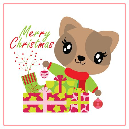 Cute cat girl behind Xams gift boxes and sock vector cartoon illustration for Christmas card design, wallpaper and greeting card