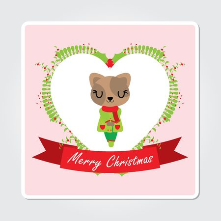 Cute cat girl in love frame and ribbon vector cartoon illustration for Christmas card design, wallpaper and greeting card.