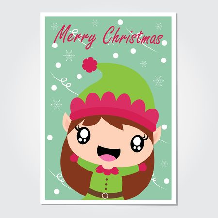 Cute elf girl is happy under snowfall vector cartoon illustration for Christmas card design, wallpaper and greeting card