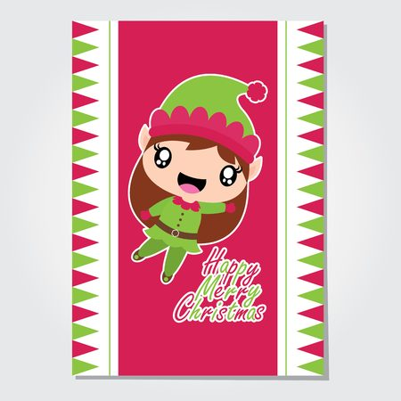 Cute elf girl is happy on pink background vector cartoon illustration for Christmas card design, wallpaper and greeting card