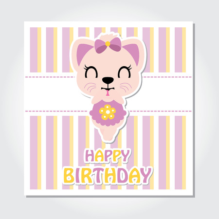 Cute kitten is happy on striped background vector cartoon illustration for birthday invitation card, postcard, and wallpaper