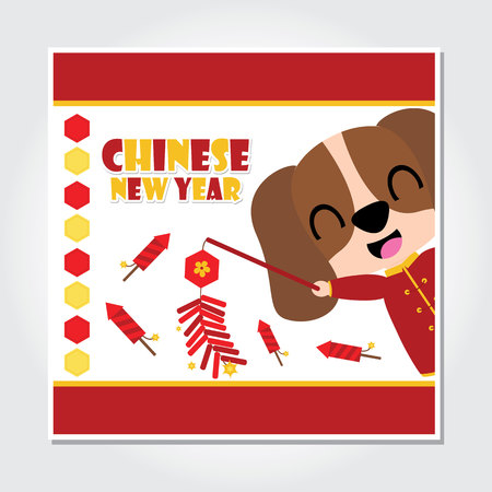Cute puppy boy plays firecrackers and rocket fireworks vector cartoon illustration for Chinese New Year card design, postcard, and wallpaper
