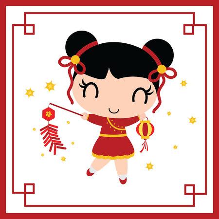 Cute Chinese girl vector cartoon illustration