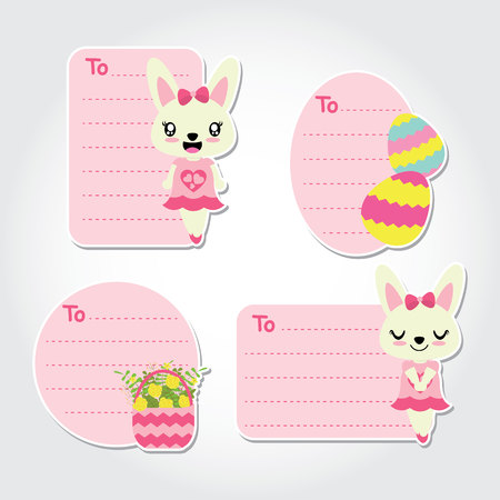 91785335 cute bunny girl flowers backet and colorful egg cartoon illustration for easter gift tags design postcard and sticker set negle Choice Image
