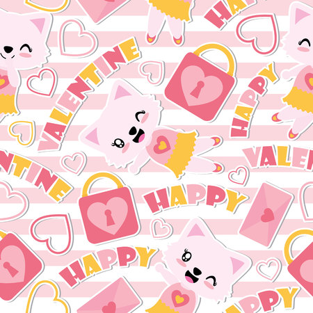 Seamless pattern of cute cat girl and Valentine elements