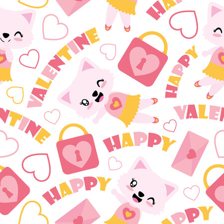 Seamless pattern of cute cat girl and Valentine elements vector cartoon illustration for Valentine wrapping paper, kid fabric clothes, and wallpaper