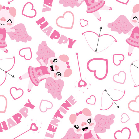 Seamless pattern of cute pig as cupid and Valentine elements vector cartoon illustration for Valentine wrapping paper, kid fabric clothes, and wallpaper
