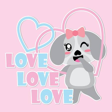 Cute puppy smiles on love frame vector cartoon illustration for Happy Valentine card design.