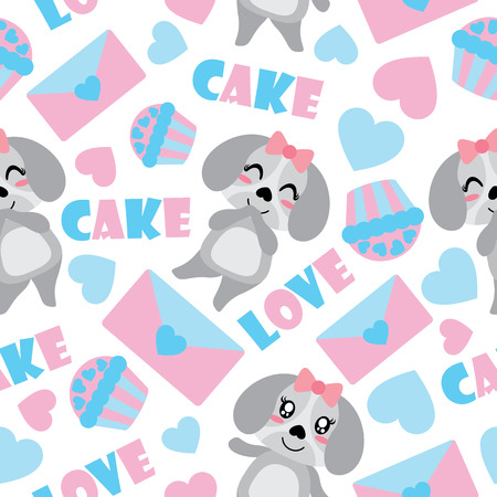 Seamless pattern of cute puppy and Valentine elements vector cartoon illustration for Valentine wrapping paper, kid fabric clothes, and wallpaper