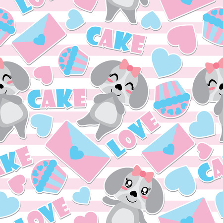Seamless pattern of cute puppy and Valentine elements on striped background vector cartoon illustration for Valentine wrapping paper, kid fabric clothes, and wallpaper