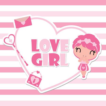 Linda Garota Na Ilustração De Desenhos Animados Vetor De Quadro De Amor Para Design De Cartão De Feliz Dia Dos Namorados Cartão Postal E Papel De