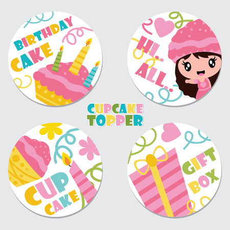 Cute cupcake girl, cake, candle, and gift box vector cartoon illustration for Birthday cupcake topper set design, postcard and sticker set