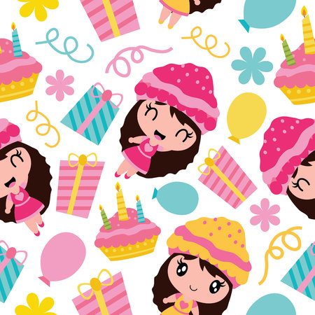 Pattern of cute girl birthday cake and gift