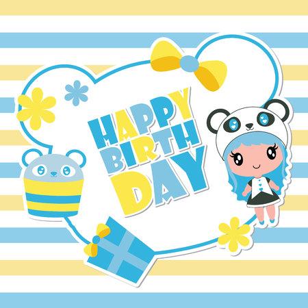 Cute panda girl on blue frame vector cartoon illustration for happy birthday card design, postcard, and wallpaper