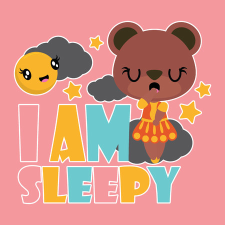 Cute bear girl is sleepy. Vector cartoon illustration