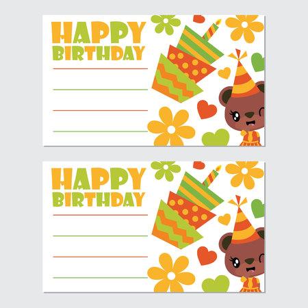 Cute bear girl and birthday elements vector cartoon illustration for happy birthday card design, postcard, and wallpaper Illustration