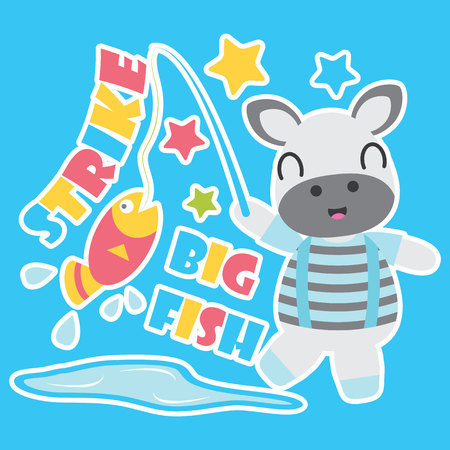 Cute zebra boy is fishing vector cartoon illustration for Kid t-shirt background design, postcard, and wallpaper