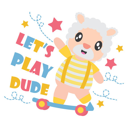 Cute sheep boy plays skateboard with his ball vector cartoon illustration for Kid t-shirt background design, postcard, and wallpaper Illustration