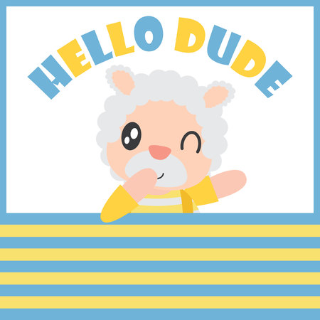 Cute sheep boy says hello dude with his ball vector cartoon illustration for Kid t-shirt background design, postcard, and wallpaper