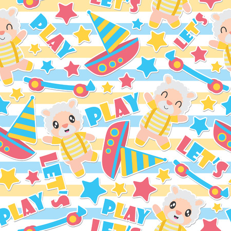 Seamless pattern of sheep boy and toys on striped background vector cartoon illustration for kid wrapping paper, kid fabric clothes, and wallpaper Illustration