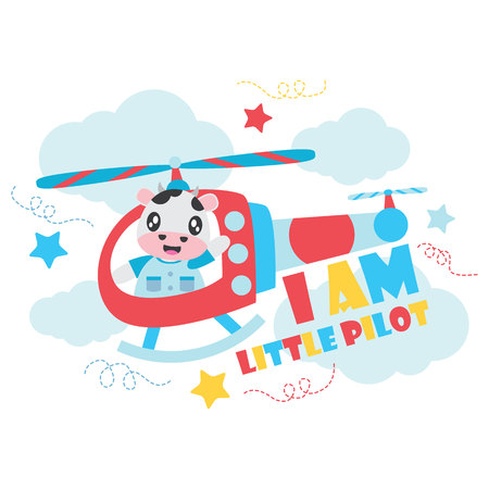 Cute cow as little pilot on helicopter vector cartoon illustration for Kid t-shirt background design, postcard, and wallpaper