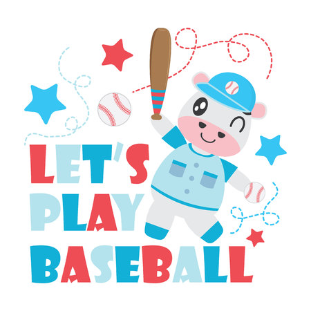 Cute cow plays baseball vector cartoon illustration for Kid t-shirt background design, postcard, and wallpaper