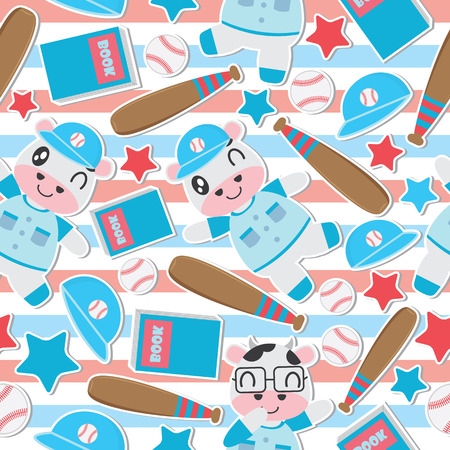 Seamless pattern of cow boy and toys on striped background vector cartoon illustration for kid wrapping paper, kid fabric clothes, and wallpaper