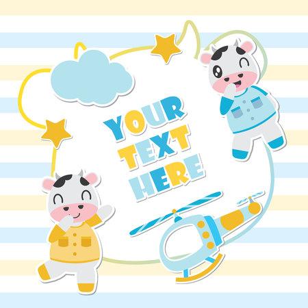 Vache mignonne et jouets cadre illustration de dessin animé de vecteur pour la conception de cartes de douche de bébé, carte postale et papier peint