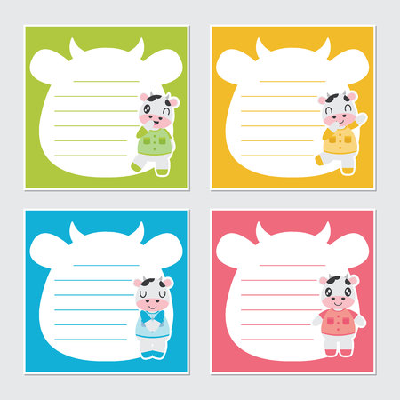 Cute colorful cows frame vector cartoon illustration for kid memo paper design, stationery and planner sticker