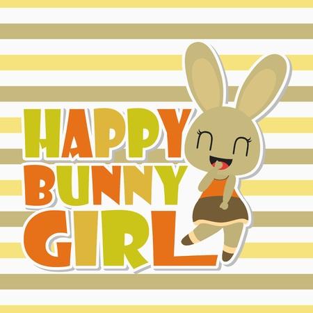 Happy bunny girl vector cartoon illustration for kid t-shirt background design, postcard, and wallpaper