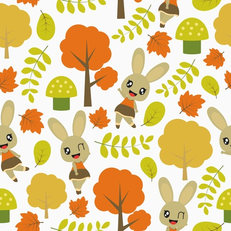 Seamless pattern of cute bunny and Autumn elements vector cartoon illustration for kid wrapping paper, kid fabric clothes, and wallpaper Stock Vector - 105816695