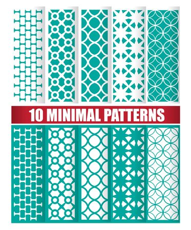 Minimal green oriental pattern vector set Çizim